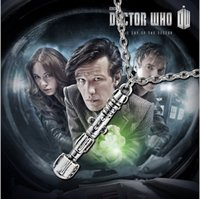 Wholesale Doctor who sonic screwdriver necklace with My Heart Belong To Who Cylindrical necklace classic silver