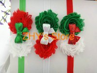 Wholesale Red Green and White Double Shabby Chic Flowers Sequin Bow FOE Christmas Headband Baby Girls Hair Accessories