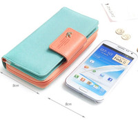 Wholesale Lady Coin Purse Card High Capacity Bump Color Buckles Women Long Wallets Phones for iphone s s c Sumsang Card Bag Checkbook