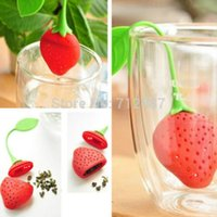 Wholesale Hot sales Silicone Strawberry Design Loose Tea Leaf Strainer Herbal Spice Infuser Filter Tools shipping