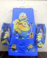 Wholesale hot sale Minions craft aprons with oversleeve kids large size apron with pockets minions set D1756