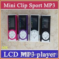 Wholesale 30x Clip MP3 Sport Music player With LCD Screen Support Micro TF SD Memory Card USB Cables Earphones Come With Crystal Retail Boxes MP