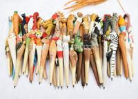 animal wood carving - Wooden folk art animal carving new creative ballpoint pen Animal shape ballpoint pen animal carving wood pens hand carved pen