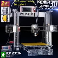 Wholesale 2016 Hot Upgraded Quality High Precision Reprap Prusa i3 DIY d Printer kit with Rolls Filament GB SD card and LCD for Free