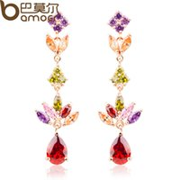 Wholesale Bamoer K Real Gold Plated Gold Unique Dangle Earrings with Multicolor AAA Zircon Stone Engagement Jewelry JIE021