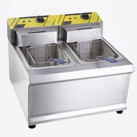 Wholesale Shelf twin pairs sieve Electric Fryer fritters fried chicken Liu practical upscale commercial fryer fries