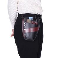 Wholesale Leather Barber Salon Hairdressing Holster Pouch Scissor Bag Rivet Clips Holder Case with Waist Shoulder Belt