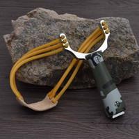Wholesale Outdoor Entertainment Powerful Sling Shot Aluminium Alloy Slingshot Camouflage Bow Catapult Outdoor Hunting Slingshot