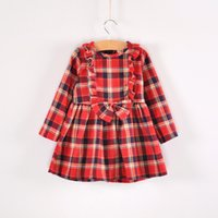 Wholesale Top Quality Girl s A Line Dress Plaid Bow Dress Cute Mini Skirt One piece Dress Zipper Cotton LD5