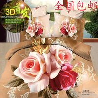 Wholesale 3d oil painting piece set cotton stripe slanting activated three dimensional flowers flower duvet cover cotton bedding