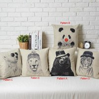Wholesale Creative Retro Cartoon Sketch Animal Pillow Case Sofa Office Decor Cushion Cover Square quot Linen