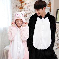 Wholesale Soft Flannel Pink Black Pig Couple Sleepwear Adult Unisex Anime Cartoon Pajamas Cosplay Winter Warm Hood Onesies Jumpsuits Cheap
