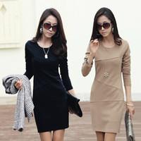 Wholesale vestidos winter dress women Casual OL Office Long Sleeve Elegant Work dresses party Ladies silm Clothing plus size S XXXL