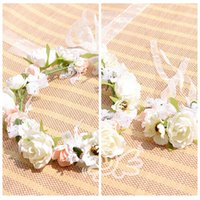 band ladies accessories - Bohemian Flowers Hair And Wrist Corsage Accessories Bridesmaid Bride s Headbands Wrist Bands Sets Beach Wedding Suppliers For Ladies