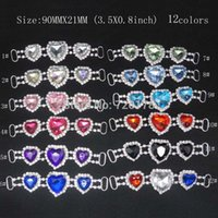 Wholesale 20pcs inch colors Heart Rhinestone headband Connectors Bikini Connectors Crystal connectors for Valentine s Day RCM53