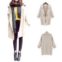 Wholesale S5Q Women s Ladies Wool Blend Long Sleeve Jacket Cardigan Coat Parka Windbreaker AAADUT