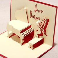 Wholesale 2015 New D Handmade Card Greeting Cards Red Blue Handmade D Pop UP Birthday Greeting Cards with Piano Angel