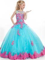 kids prom dresses - 2015 Girls Pageant Dresses Ball Gowns Lovely Appliqued Beading Sheer Prom Dress For Kids Children Formal Wear Flower Girl Dress Cheap Custom