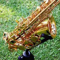 Wholesale Saxophone Sax Eb E Flat Brass Carved Pattern on Surface Plastic Mouthpiece Exquisite with Gloves Cleaning Cloth Brush Straps order lt no tra