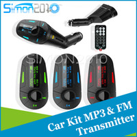 Wholesale 3 LCD Colors Car Kit MP3 Music Player Wireless FM Transmitter Radio Modulator With USB SD MMC Remote Control