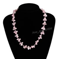beaded gemstone necklaces - Necklace Natural gemstone Pink Amethyst Crystal stone Beaded Necklace Wedding Gift Party High Quality