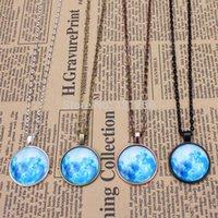 Cheap 1PC Mint blue moon pendant necklace full moon necklace lunar pendant space pendant glass dome pendant necklace