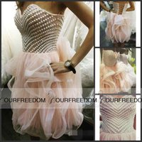 Wholesale 2016 Elegant Sweetheart Detailed Pearls Party Dresses Lace Up Back Homecoming Dresses Short Prom Wears Custom Made High Quality