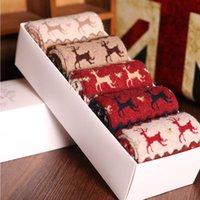 100 % wool socks - New Christmas Wool socks women thermal winter rabbit wool socks female thickening towel cotton socks gift sock box