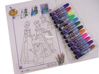 Wholesale Box multicolor children Cartoon Frozen water colorful pen Stationery Christmas gift drawing book