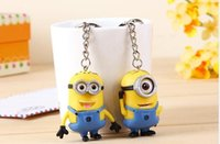 Wholesale 350set CM D Despicable Me Cartoon Minion Action Figure Keychain Lover Keyring Key Ring Mobile Chain For Christmas Gift Toy Set