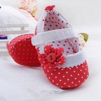 antiskid tape - Baby Girls Prewalkers Lovely Cute Stylish Soft Warm Antiskid Toddler Flower Polka Magic Tape Crib Shoe Red Pink