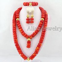 Wholesale Charming Orange African Nigerian Wedding Beads Jewelry Set Coral Jewelry Set Coral Necklace Bracelet Earrings Sets