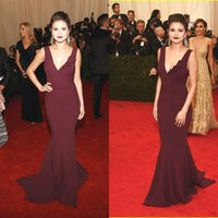 Wholesale Fascinating Selena Gomez Red Carpet Dresses Celebrity Dresses Sexy Deep V neck Sheath Court Train Satin Women Formal Gowns Open Back