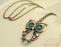 Wholesale Cute Women Lady Vintage Color Rhinestone Owl Pendant Long Chain Necklace Gift