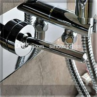 bathtub construction - Luxurious Design Brass Construction Chrome Finished Wall Mounted LED Bathtub Faucet Mixer Taps emergi