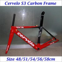 Wholesale 2016 Carbon Road Bike Bicycle Frames S3 Red Black Painting Cycling Bike Frameset Seatpost Fork Headset Clamp Including