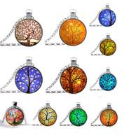 al por mayor estilo de la joyería del collar-2015 NUEVO Árbol del arte pendiente de la joyería del collar de la vida y el pensamiento del regalo de plata de la joyería del encanto del estilo de la Navidad de la familia del árbol