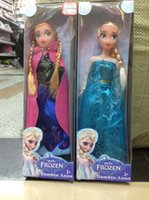 Wholesale EMS Free Christmas On Sales Cheap Frozen princess Toys Sparkle Princess Elsa Anna sister Dolls with Nice clothing inch retail gift box
