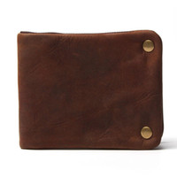 Wholesale Luxury Designer Vintage Handmade Genuine Crazy Horse Leather Cowhide Men Wallet Purse Card Holder With Zipper Wallets Men