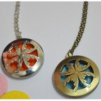 Wholesale 2016 New essential oil diffuser necklace Fashion Cabochon perfume necklace Casual Styles Bronze aromatherapy lockets Chain
