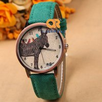 antique horse clocks - Retro Fabric Leather Strap Horse Quartz Dress Watches Antique Bronze Arabic Numerals Wristwatch Relogio Masculino Hours Clock