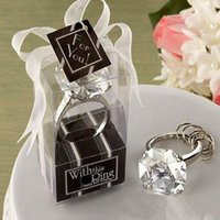 Wholesale quot With This Ring quot Engagement Ring Key Chain Novelty Giant Diamond Keychain Jewelry party Gift box