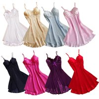 Wholesale New Sexy Women Lace Short Mini Braces Nightdress Smooth Satin Nightgown Pajams Sleepwear