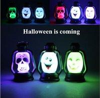 Wholesale Holiday GIFT Halloween Pumpkin Lantern light SKULL Ghost Spider Bat Lantern LED LIGHTS Decoration lamp light