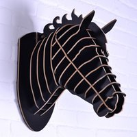 animal head sculpture - horse sculpture Horse head for wall decoration mdf decorative DIY wooden crafts novelty items animals head wall wood horse craft
