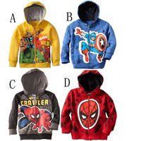 batman jumpers - 100pcs color kid spiderman superman hoodies batman ironman jumper jacket superhero outwear Sweatshirts captain American outerwear coat