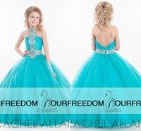 baby light shine - Cute Halter Shining Beaded Ball Gown Girls Pageant Dresses New Rachel Allan Backless Blue Tulle Tutu Flower Girl Baby Birthday Dresses