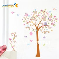 art stroll - 5pcs ZooYoo ZY50AB Owl Stroll Tree PVC Wall Stickers Large Removable Wall Decal Stickers Art Vinyl Home Decor