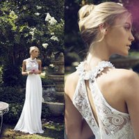 halter top wedding dress - 2015 Riki Dalal Chiffon Bohemian Beach Garden Wedding Dresses with Floral Halter Strap Cowl Backless Top Luxury Beaded Sequins Bridal Gowns
