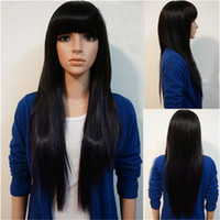 Wholesale Womens long straight wigs Qi bangs black light brown dark brown hair cheap good quality wig heat resistant Cosplay wig synthetic wigs